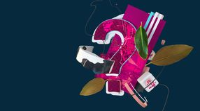 Abstract colorful composition. Colorful 3D abstraction with stylized and transformed question sign, abstract shapes and different things Stock Images