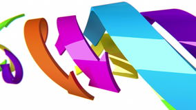 Colorful 3D arrows move on white background, CG animation, seamless loop stock video footage