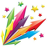 Colorful 3D Arrows. Vector illustration of colorful 3D arrows shoot out with stars isolated on white Stock Photo