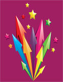 Colorful 3D Arrows. Vector illustration of colorful 3D arrows shoot out with stars over purple background Stock Image