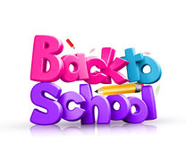 Colorful 3d Back to school text Royalty Free Stock Images