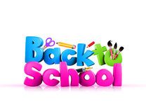 Colorful 3d Back to school text. A colorful 3d back to school text in white background Stock Photo