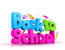 Colorful 3d Back to school text Stock Photos
