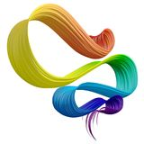 Colorful 3D bent brush paint stroke Royalty Free Stock Photo