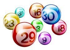 Vector Bingo Lottery Number Balls. Colorful 3D Bingo Lottery Number Balls Isolated on White Background Royalty Free Stock Images