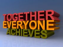 Together everyone achieves. Colorful 3D block letters spelling together everyone achieves on purple background Stock Image