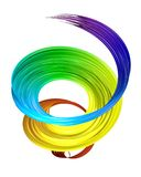Colorful 3D brush paint stroke swirl Stock Photography