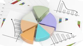 Colorful 3D business pie chart. On documents Stock Photography