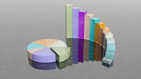 Colorful 3D business round bar. And pie charts infographic Stock Image