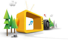 Colorful 3d cartoon. Of tv,trees,music notes,mountains,loudspeakers etc Stock Image