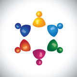 Colorful 3d children or kids group learning school icons or sign. S - vector graphic. This illustration also represents staff meetings, diversity & unity, kids Royalty Free Stock Image