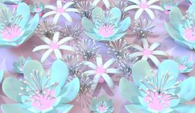 Colorful 3d flower. Beautiful background seamless pattern with colorful 3d flower and leaves. Floral trendy modern wallpaper Royalty Free Stock Photography