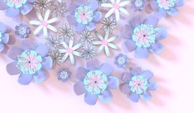 Colorful 3d flower. Beautiful background seamless pattern with colorful 3d flower and leaves. Floral trendy modern wallpaper Royalty Free Stock Photos
