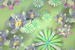 Colorful 3d flower. Beautiful background seamless pattern with colorful 3d flower and leaves. Floral trendy modern wallpaper Stock Image