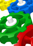 Colorful 3D Gears Working Together Royalty Free Stock Photography