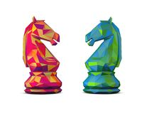 Colorful 3d geometrical chess horses. Stock Images