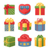 Colorful 3d gift boxes with bows and ribbons Royalty Free Stock Images