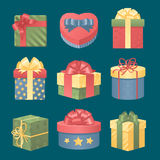 Colorful 3d gift boxes with bows and ribbons Stock Images