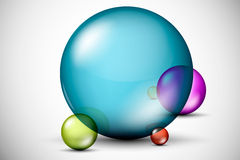 Colorful, 3D glass balls. Light, isolated decoration Royalty Free Stock Photos