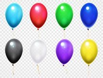 Colorful 3d glossy balloons. Birthday party or festival flying balloon vector set vector illustration