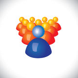 Colorful 3d icons or signs of community members & leader Royalty Free Stock Images