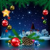 Christmas illustration in 3D. Colorful 3D illustration of Christmas with a fir tree and cone,  tree decorations, a gold star , magical castle,  with a blue Stock Photos