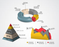 Colorful 3d infographics. Set of colored 3d infographic elements for your data Royalty Free Stock Photos