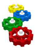 Colorful 3D interlocking gears. Series of colorful, 3D, interlocking gears or cogwheels royalty free illustration
