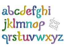Colorful 3D Letters of the Alphabet. Interesting Drop font, 3D, vector illustration Stock Photos