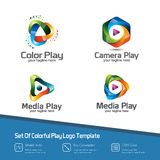 Colorful 3D media play logo set. Modern design vector of several. Media play symbol icon. Suitable for studio company, technology, communication, service Royalty Free Stock Photography