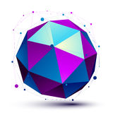 Colorful 3D mesh modern spherical abstract object, origami futur Royalty Free Stock Images