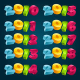 Colorful 3D New Years Banners. Set of colorful 3D text for new years Stock Photos