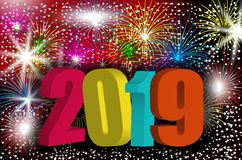 Colorful 3D numbers 2019 New Year. Design background with sparkling fireworks, holiday greeting. Vector. Illustration stock illustration
