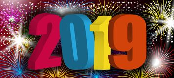 Colorful 3D numbers 2019 New Year. Design background with sparkling fireworks, holiday greeting. Vector. Illustration vector illustration