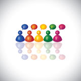 Colorful 3d office staff or employees  icons talking & chatting. Vector graphic. This illustration can represent employee meetings, group discussions, brain Stock Photography