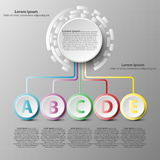 Colorful 3d paper circle with five topics for website presentation cover poster  design infographic illustration concept. 1 Royalty Free Stock Photo