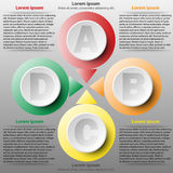 Colorful 3d paper circle of four topics for website presentation cover poster design infographic illustration concept. 1 royalty free illustration