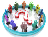 Colorful 3d people around the question mark - Solution problems Stock Photo