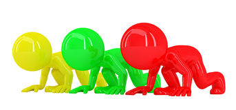 Colorful 3d people at starting line. Isolated. Contains clipping path Royalty Free Stock Photography