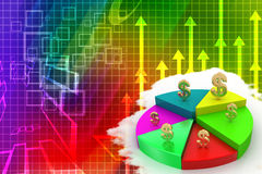 A colorful 3d pie chart graph with dollar symbol Royalty Free Stock Photography