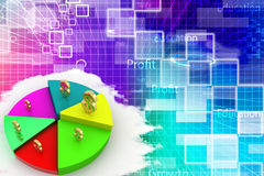 A colorful 3d pie chart graph with dollar symbol Stock Photo