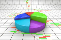 A colorful 3d pie chart graph. Royalty Free Stock Image