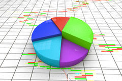A colorful 3d pie chart graph. Royalty Free Stock Photos