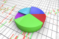 A colorful 3d pie chart graph. High resolution render with candlesticks chart background Stock Photography