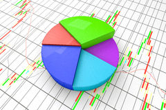 A colorful 3d pie chart graph. High resolution render with candlesticks chart background Stock Photo