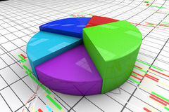 A colorful 3d pie chart graph. High resolution render with candlesticks chart background Stock Image