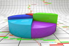 A colorful 3d pie chart graph. High resolution render with candlesticks chart background Royalty Free Stock Image