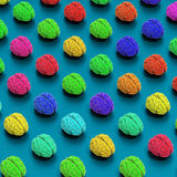 Colorful 3d rendered brains pattern, low poly illustration. 3d rendered, low poly stylized brains pattern illustration, colorful background royalty free illustration