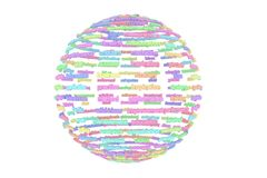 Colorful 3D rendering. CGI typography, made up from words or alp. Colorful 3D rendering. CGI typography, sphere or planet, made up from words or alphabetic stock illustration