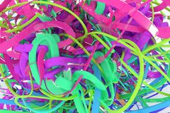 Colorful 3D rendering. Decorative, illustrations CGI composition, bunch of messy string geometric, for design texture background. Colorful 3D rendering. CGI vector illustration